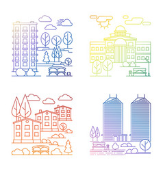 line village and city landscape banners vector image