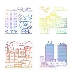 line village and city landscape banners vector image