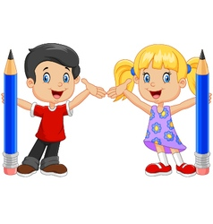 Little kids holding pencil isolated vector