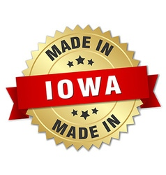 Made in Iowa gold badge with red ribbon vector