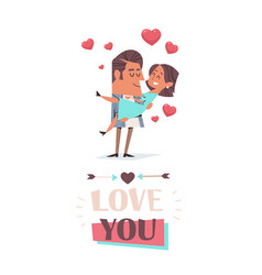 man holding girlfriend in his arms couple in love vector image
