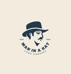 Man in hat logo vector