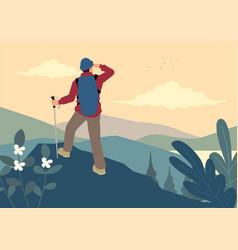 Man on top mountain vector