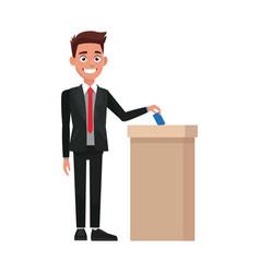 Man voting at ballot box democracy concept vector