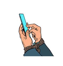Men hands with a smartphone tied hands internet vector