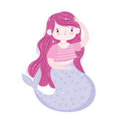 mermaid princess pink hair character cartoon vector image