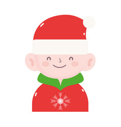 merry christmas cute boy with hat and sweater icon vector image