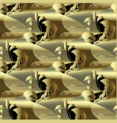 modern gold 3d baroque seamless pattern abstract vector image