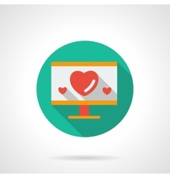Monitor with hearts flat round icon vector image
