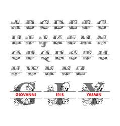 Monogram split letter alphabet with floral vector