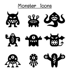 Monster icon set vector
