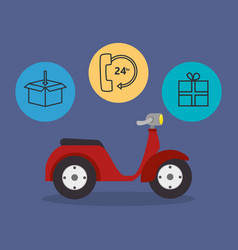 Motorcycle with delivery service icons vector
