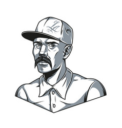 mustached latino man in baseball cap vector image