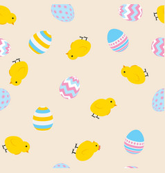 painted easter egg and chicken cite seamless vector image