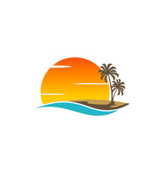 Palm tree sunset beach holiday logo vector