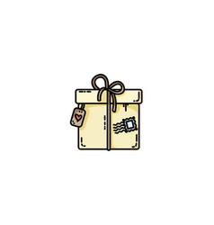 parcel gift box flat icon vector image