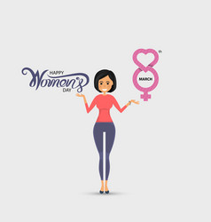 Pretty woman with pink happy international womens vector