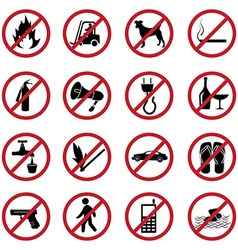 Prohibited icons set vector image
