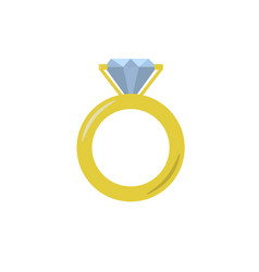 Proposal golden ring with gem flat on white vector