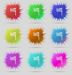 Racing flag icon sign A set of nine original vector