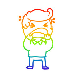 Rainbow gradient line drawing cartoon shouting man vector
