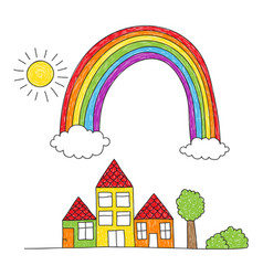 Rainbow over houses drawing vector