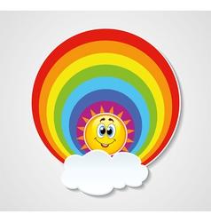 rainbow sun and cloud vector image