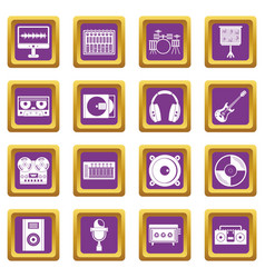 Recording studio items icons set purple vector