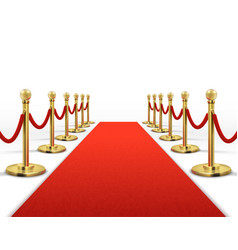 Red carpet for celebrity with gold rope barrier vector