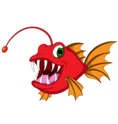 red monster fish cartoon vector image