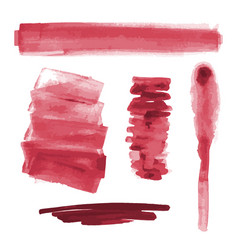 Red watercolor shapes splotches stains paint vector