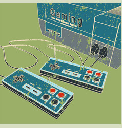 Retro game console and joysticks vector