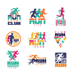 Run sport club logo templates set emblems vector