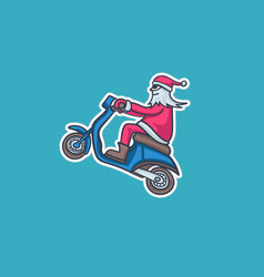 santa claus on a moped vector image