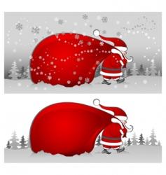 Santa with bag in grey vector image