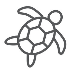 Sea turtle line icon animal and underwater vector