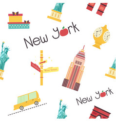 seamless pattern with new york landmarks symbols vector image
