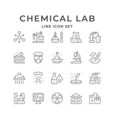 set line icons chemical lab vector image