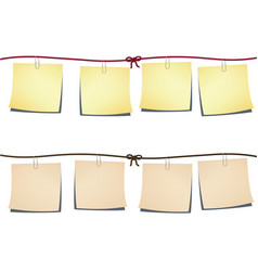 set of note-papers on the rope vector image