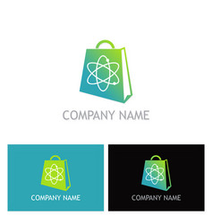 shopping bag science logo vector image vector image