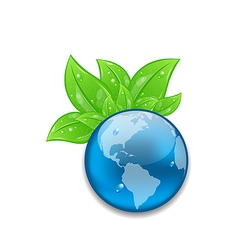 Symbol of planet Earth with green leaves vector image