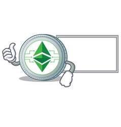 Thumbs up with board ethereum classic character vector