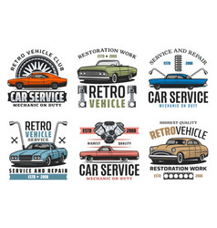 Turning car service retro vehicles restoration vector