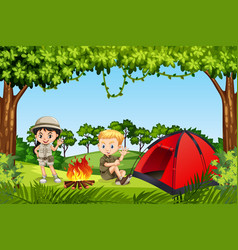 Two children camping in the woods vector