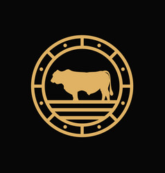 vintage angus cattle farm logo vector image