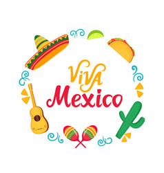 viva mexico hand drawn lettering frame vector image