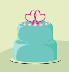 Wedding cake decorated with heart vector