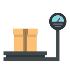 Weight scale with box icon flat style vector