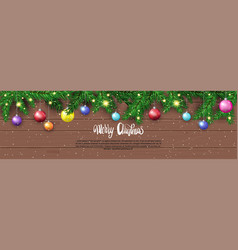 winter holidays decorations with fir branches on vector image