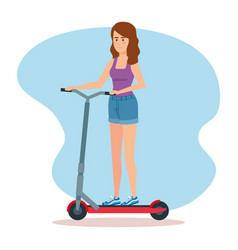 Woman ridding electric scooter vehicle vector
